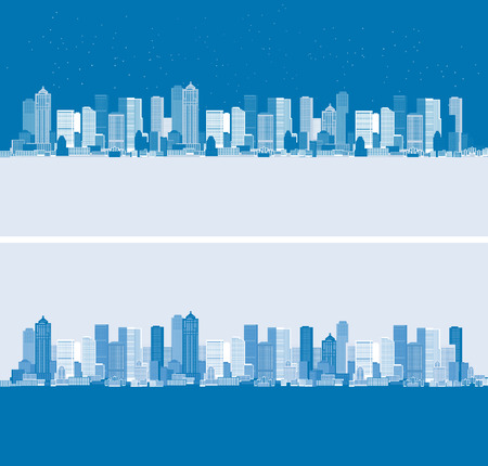 Day and night. Cityscape background, urban art Vector