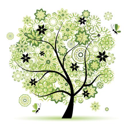 Floral tree beautiful Illustration