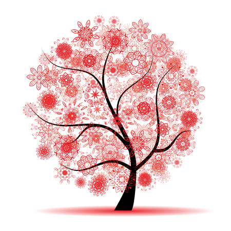 pink bushes: Floral tree beautiful Illustration