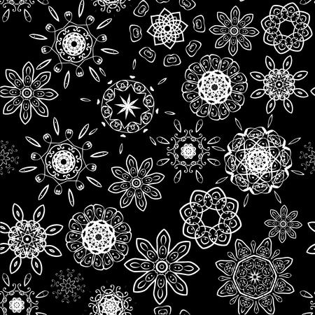 Black on white seamless floral pattern Vector
