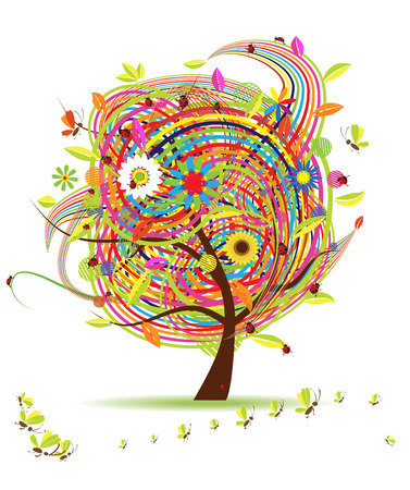 Funny spring tree for your design Vector
