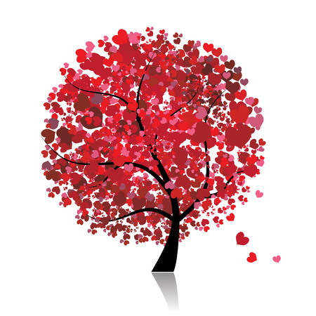 pink bushes: Valentine tree, love, leaf from hearts