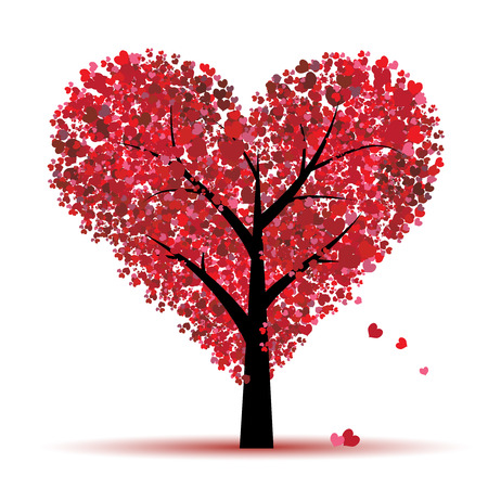 Árbol de Valentine, amor, hoja de corazones Ilustración de vector