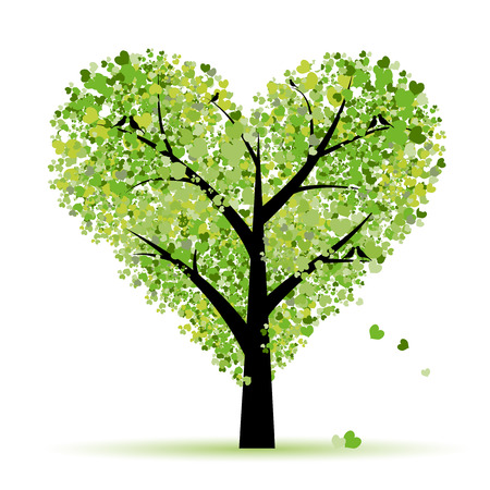 feb: Valentine tree, love, leaf from hearts