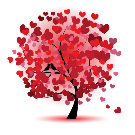 black bird: Valentine tree, love, leaf from hearts
