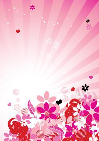 Pink floral background for your design Vector