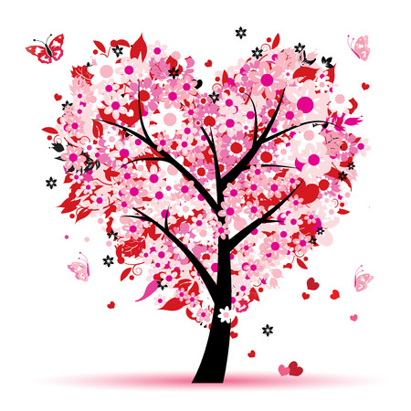 Valentine tree, love, leaf from hearts Stock Vector - 6429907