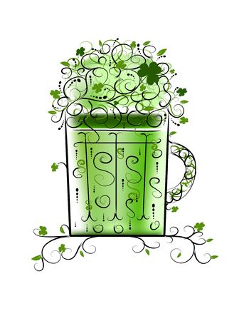 Green Patricks beer for your party Vector