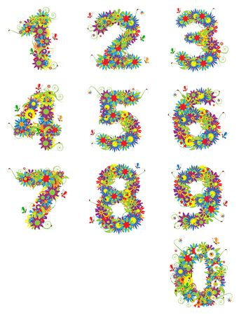 Numbers, floral design. See also numbers in my gallery photo