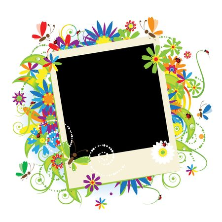 Summer holiday, insert your photo into frame Vector