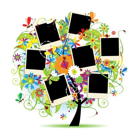 grass family: Family album. Floral tree with frames for your photos.