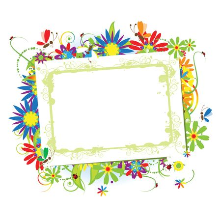 butterfly ladybird: Floral frame beautiful with place for your text
