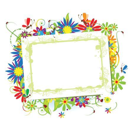borde de flores: Marco floral hermoso con lugar para el texto