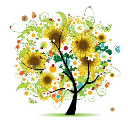 Floral tree beautiful Stock Vector - 6622687