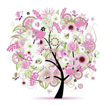 rose bush: Floral tree beautiful Illustration