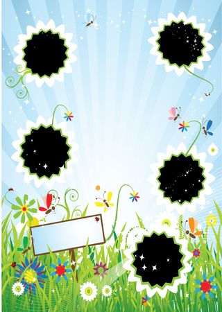 Summer meadow, insert text or photo into frames Vector