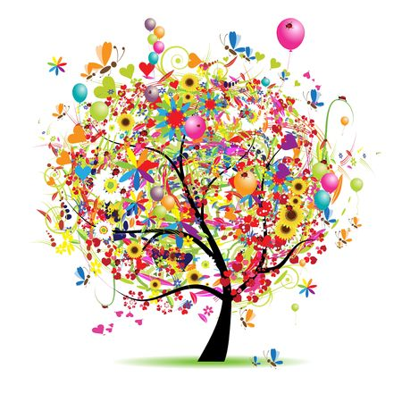 Happy holiday, funny tree with baloons Vector