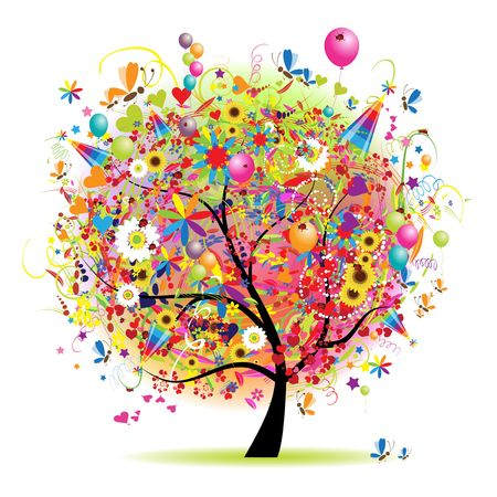 Happy holiday, funny tree with baloons Illustration