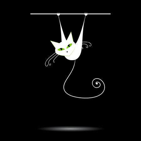 green eyes: White cat with green eyes on black   Illustration
