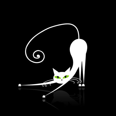 pussycat: White cat with green eyes on black   Illustration