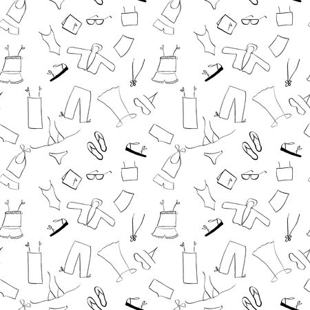 Shopping, clothes seamless background Vector
