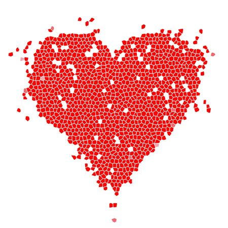 Mosaic heart shape red for your design Stock Vector - 6622657