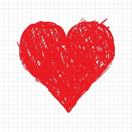 painted image: Sketch heart shape red for your design Illustration