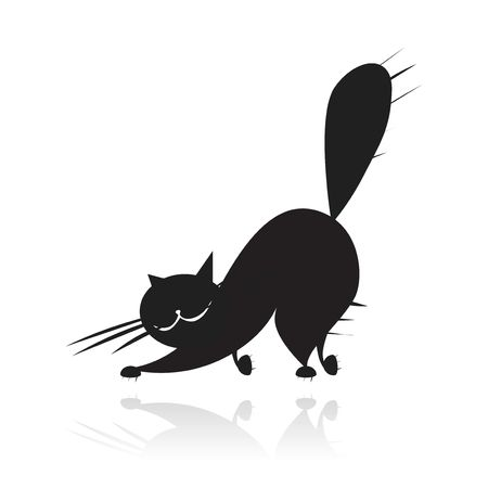 cat walk: Big black cat silhouette Illustration