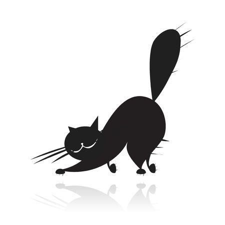 gato dibujo: Silueta de gran gato negro