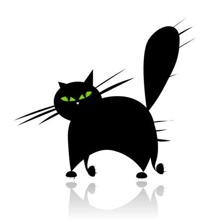 bigodes: Big black cat silhouette with green eyes