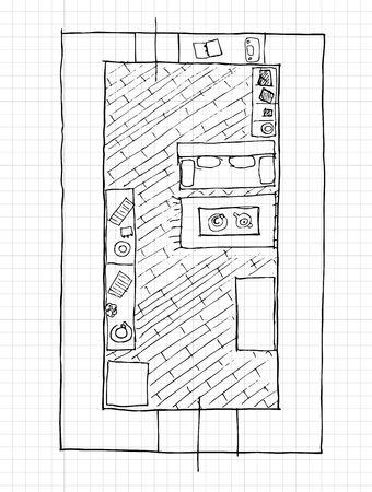 Interior design apartments - top view Vector