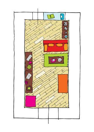 table top: Interior design apartments - top view