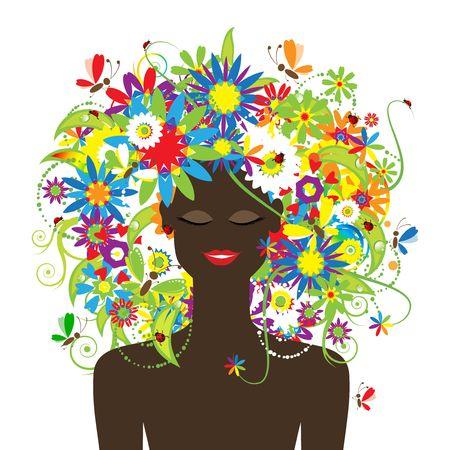 Cara de verano, mujer con hermosa floral peinado