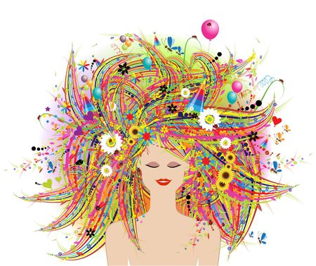 Woman face, festive floral hairstyle Stock Vector - 6622693