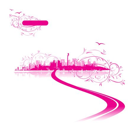 Cityscape background pink, urban art Vector