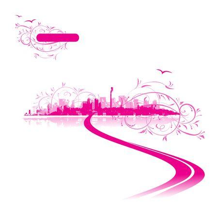 Cityscape background pink, urban art Stock Vector - 6622660