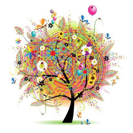 Happy holiday, funny tree with baloons Stock Vector - 6622699