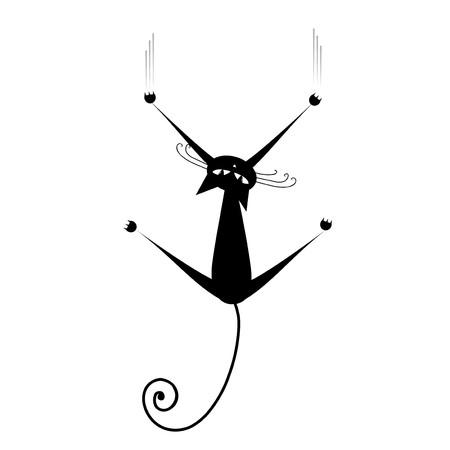 gato negro: Relajarse. Silueta de gato negro para su dise�o