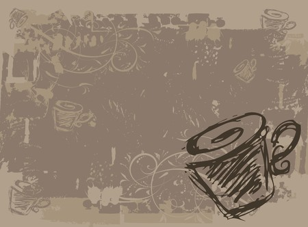 painted wall: Cup of tea, grunge background for your design