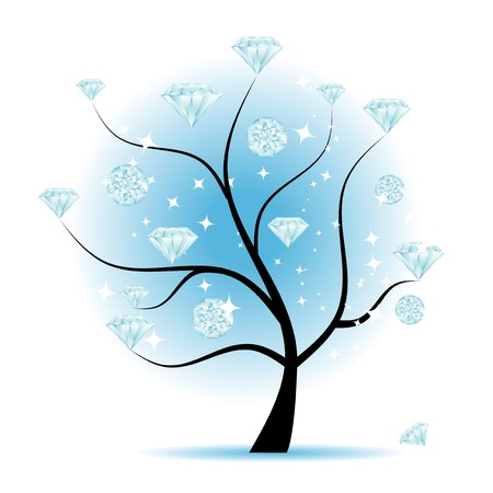 Art tree with diamonds for your design Vector