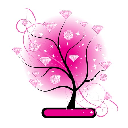 Art tree with diamonds pink for your design Vector