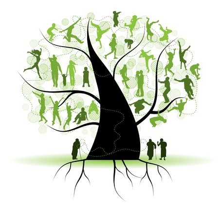 Family tree, relatives, people silhouettes Stock Vector - 6927754
