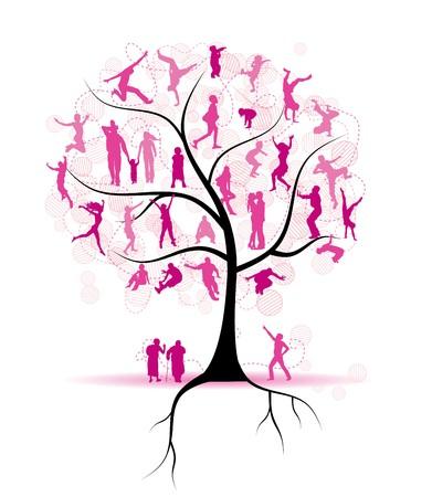 arbol geneal�gico: �rbol de familia, parientes, siluetas de personas