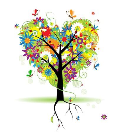 Summer floral tree, heart shape Stock Vector - 6927760