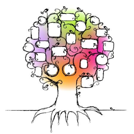 origen animal: Diseño del árbol de la familia, inserte marcos a tus fotos Vectores
