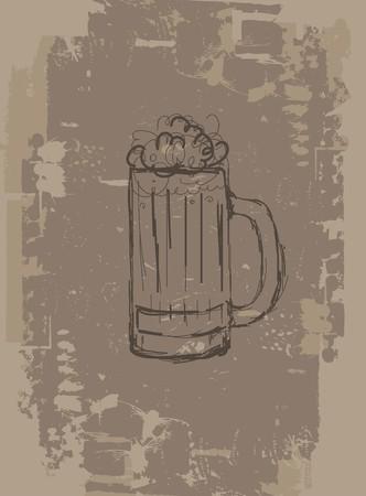 Beer mug, grunge background for your design Vector