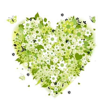 Floral heart shape, summer green Stock Vector - 6927751