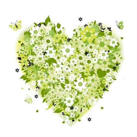 green and black: Floral heart shape, summer green