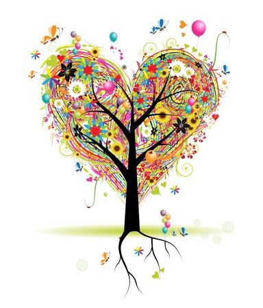 Happy holiday, heart shape tree with balloons Vector