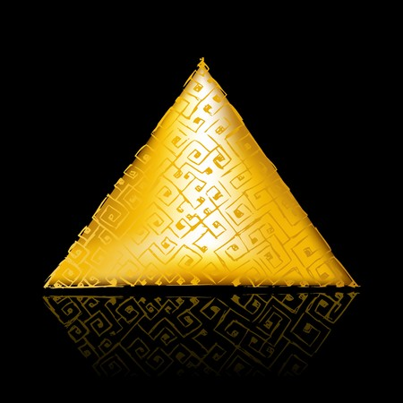 egyptian pyramids: Golden pyramid on black